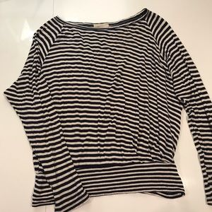 Anthropologie navy and white striped top